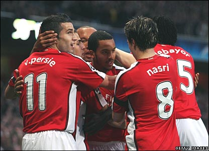 The Arsenal Lads In Celebration of Theo Walcott's Amazing Goal