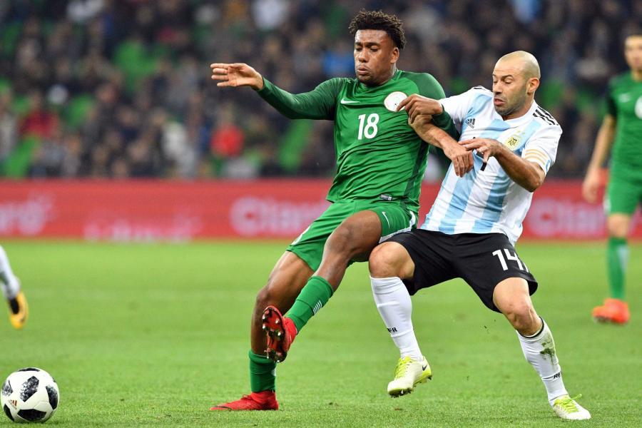 Arsenal midfielder Alex Iwobi playing for Nigeria against Argentina
