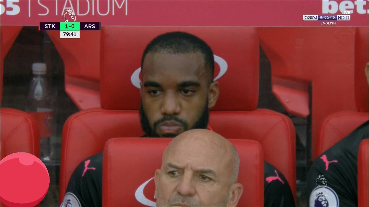 Arsenal attacker Alexandre Lacazette on the bench